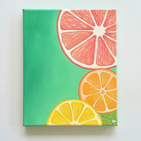 Colorful Wall art, Bright wall art, Fruit painting, citrus art, Kitchen decor, 8 x 10, original acrylic painting