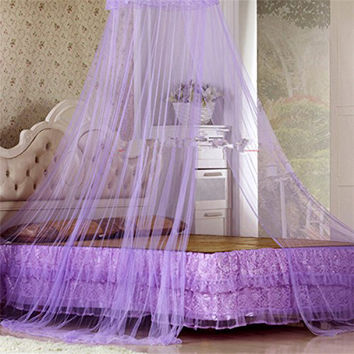Hot Round Elegent House Bed Netting Canopy Lace Summer Princess Mosquito Net Malla White Purple