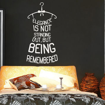 Dress Wall Decal Quote Elegance Is Not Standing Out But Being Remembered Vinyl Wall Decals Murals Shopping Fashion Girls Bedroom Decor Z876