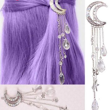 4 Colors ! Sweet Japanese Style Crystal Moon Statement Tassels Hair Jewelry Wedding Hair Accessories Bijoux Bobby Pin Girls