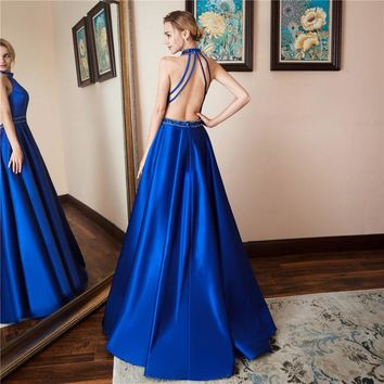 Satin Sleeveless High Neck A Line Long Prom Dresses Open Back Sequined Floor Length Prom Dress