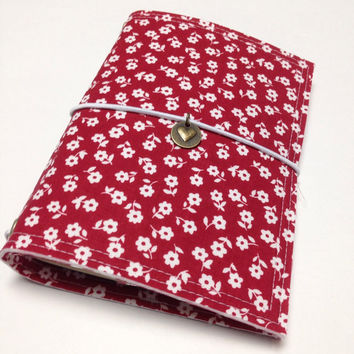 Fabric Fauxdori Travelers Notebook Travel Journal Planner Cover Midori cover book style cover with charm- red with white flowers