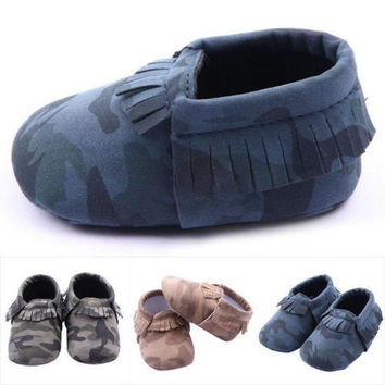 Little one shoes Soft Sole Leather Baby Infant Toddler Kids Boy Camo Shoes 3-12M