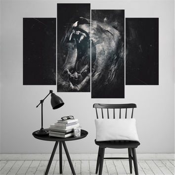 Lion Roars Oil Painting Spray Painting Wall Art Canvas Picture Animal Posters Christmas Decorations for Home No Frame 4 Pieces