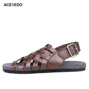 Saints base knitted male sandals the trend of casual sandals Men sandals leather sandals
