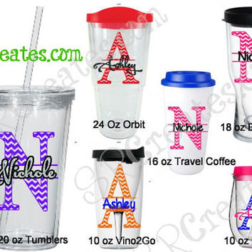 Personalized Chevron Tumblers, Split Letter
