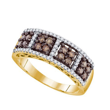 Cognac Diamond Ladies Fashion Band in 10k Gold 0.59 ctw