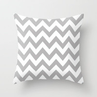 Chevron Grey Throw Pillow by Lucy Helena