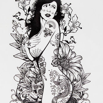 Naked Tattoo Girl with Rabbit Ears 21 X 15 CM Sized Sexy Cool Beauty Tattoo Waterproof Hot Temporary Tattoo Stickers