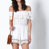 WHITE OFF SHOULDER CROCHET ROMPER