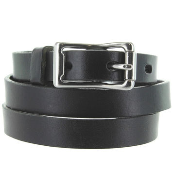 Kixters Lacey - Black Leather Silver-Tone Buckle Skinny Belt