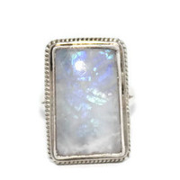 925 Sterling Silver Ring Moonstone Ring Tribal Ring Boho Ring Gypsy Ring