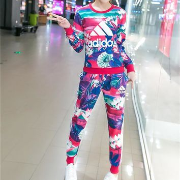 """Adidas"" Fashion Casual Multicolor Petal Letter Print Long Sleeve Sweater Set Two-Piec"