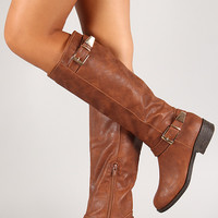 Facet Buckle Knee High Riding Boot