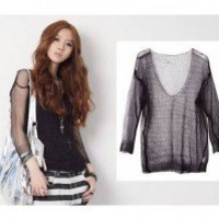 Sexy V Neck Hollowed Three Quarter Sleeves Pullover Knitted Tops 2 Colors