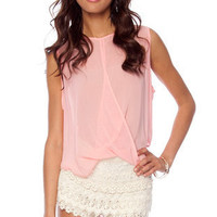 Fair Sheer Twisted Sleeveless Top in Pink :: tobi