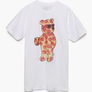 Riot Society Pizza Bear T-Shirt - Mens Tee - White