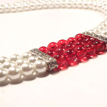 Pearl Necklace, Multi-Strand Necklace, White and Red Necklace, Beaded Necklace, Wedding Necklace, Bridal Necklace,