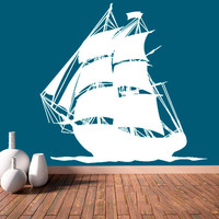 Wall Decal Vinyl Sticker Decals Art Decor Design Ship Pirates Waves Guns Sail Boat Kids Anchor Children Funny Nursery Beedroom Gift (r687)