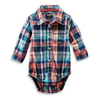 OshKosh B'gosh® Long-Sleeve Plaid Poplin Bodysuit in Orange/Blue