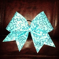Turquoise Sequin cheer bow by BowsByEm on Etsy