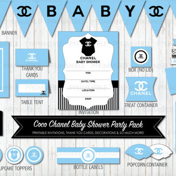 Baby Blue Coco Chanel Themed Baby Shower Printable Party Pack Bundle