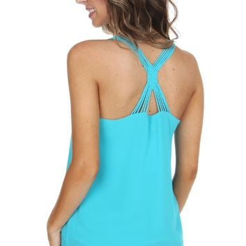 Cross Strap Tank Blue
