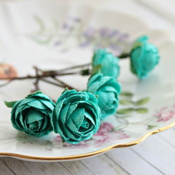 Teal Blue Garden Rose Bobby Pins. White Rose, Woodland. Whimsical. Wedding, Summer, Spring, Bridal Hair Clip, Floral, Hair Accessories.