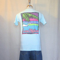 Vintage 80s HAWAII SURF GRAPHIC Local Motion Beach Small Hanes Cotton T-Shirt