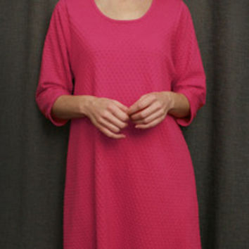 Hot Pink 3/4 Sleeve 3/4 Length NightGown Cotton Dot, Made In The USA   Simple Pleasures, Inc.