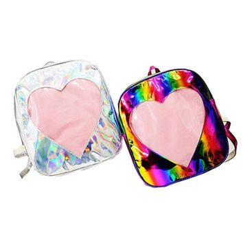 Sliver Holographic Women Leather Small Backpack Laser Fashion Shoulder Bags For Girls Children Colorful Rainbow Travel Bagpacks
