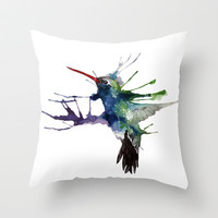 Hummingbird Throw Pillow by hannahclairehughes