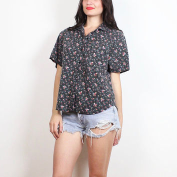 Vintage 1990s Faded Black Tiny Liberty Floral Print Boxy Boyfriend Shirt 90s Soft Grunge Worn Waitress Blouse Uniform Top Hipster M L Large
