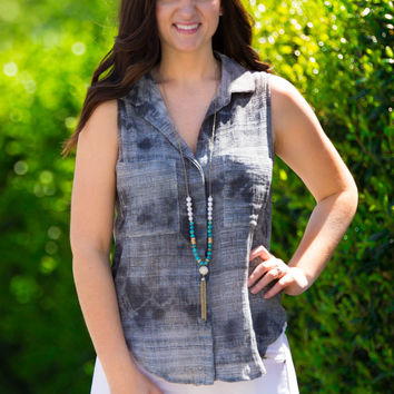 SALE-You're The Kryptonite To This Stormy Day Top-Black/Multi