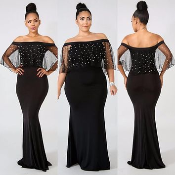 BKLD Sheer Mesh Maxi Long Slim Dress Women Pearl Beadings Dress Black Perspective Summer Sexy Off Shoulder Party Dress Plus Size