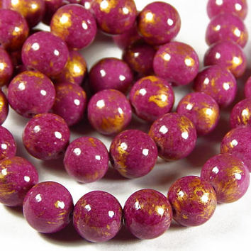 16 Inch Strand - 10mm Mashan Jade Round Beads - Medium Violet Red And Gold - Gold Dust - Gemstone Beads - Jewelry Supplies