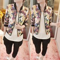 Womens Floral Print Zipper Long Sleeve Cotton Short Outerwear Jacket Coats A_L = 1658505732