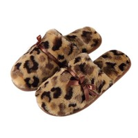 Home cotton slippers Winter warm floor parent cotton towed Leopard tattoo home room Plush Slippers Home