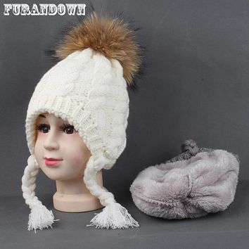 2017 Winter Warm Fleece Hat For Baby Girls Kids Fur Pompom Beanie Skullies Earflap Hats Ear Protection Cap