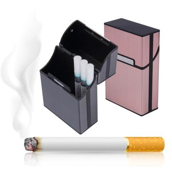 1pc  Tobacco Holder Pocket Box Storage Container 20 Cigar Cigarette Case Lighter Aluminum Metal Best Friend Magnetic Buckle