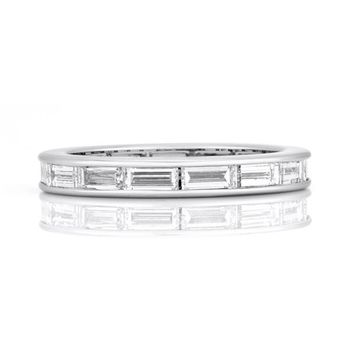A Perfect 2.85TCW Baguette Cut Russian Lab Diamond Eternity Ring