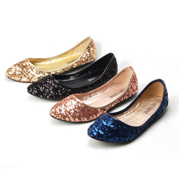 2015 New Shallow Mouth Slip-on Women Ballet Flats Fashion Glitter Pointed Toe Flats For Women Ladies Casual Flat Shoes Ballerina