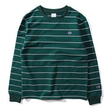 Champion Autumn And Winter New Fashion Bust Embroidery Logo Stripe Women Men Long Sleeve Top Sweater Green