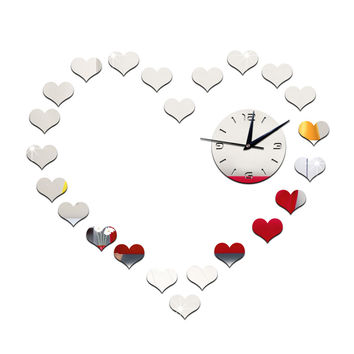 DIY Living Room Peach Heart Mirror Wall Clock    silver