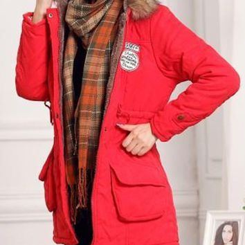 Red Drawstring Patch Detail Faux Shearling Lining Hooded Coat