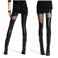 Lady Splice Net Yarn Imitation leather Leggings
