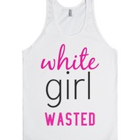 white girl wasted tank-Unisex White Tank
