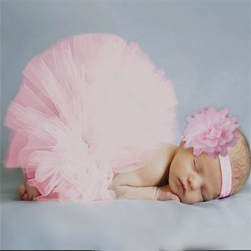 Baby Dress Pink Newborn Tutu Clothes Voile Baby Girls Dress +Headband Knitted Crochet Photo Prop Outfits