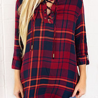 For Any Occasion Plaid Tunic-Burgundy/Navy