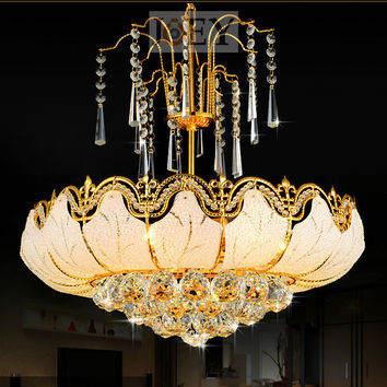 Traditional Crystal Chandeliers Lighting Gold Palace Light Luxury Hotel Lamp For Bedroom Guaranteed 100% Shipping 9051-480